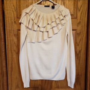 Moda International Ruffle Sweater Size Medium